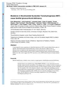 Mutations in Nicotinamide Nucleotide ... - BioMedSearch