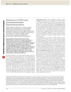 Mutations in PCSK9 cause autosomal dominant hypercholesterolemia