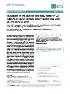 Mutations in the dynein assembly factor PF22 (DNAAF3) - Springer Link