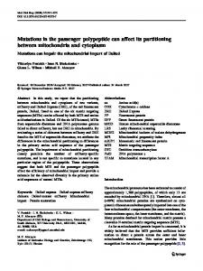 Mutations in the passenger polypeptide can affect its ... - Springer Link