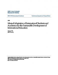 Mutual Adaptation of International Students and ... - Research Online