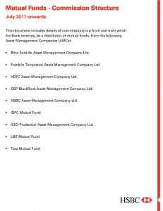 Mutual Funds - Commission Structure - Hsbc