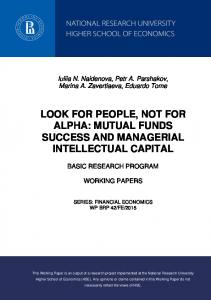 mutual funds success and managerial intellectual capital