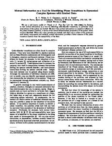 Mutual Information as a Tool for Identifying Phase Transitions in ...