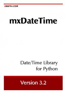 mxDateTime - Date/Time Library for Python - eGenix.com
