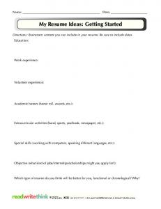My Resume Ideas: Getting Started