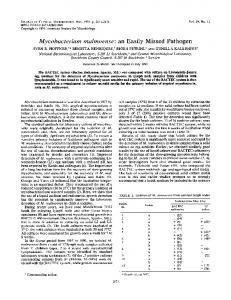 Mycobacterium malmoense - Journal of Clinical Microbiology