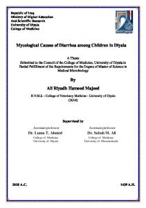 Mycological Causes of Diarrhea among Children in