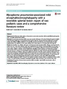 Mycoplasma pneumoniae-associated mild encephalitis ... - Springer Link