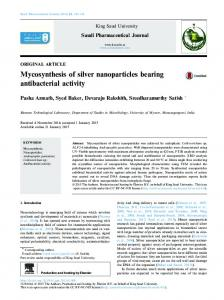 Mycosynthesis of silver nanoparticles bearing antibacterial activity - Core