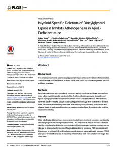 Myeloid-Specific Deletion of Diacylglycerol Lipase α Inhibits ... - PLOS