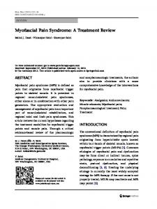 Myofascial Pain Syndrome: A Treatment Review | SpringerLink