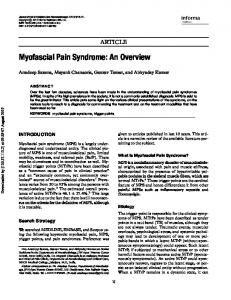 Myofascial Pain Syndrome: An Overview