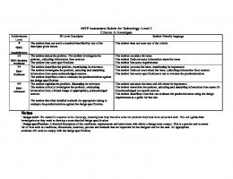 MYP Assessment Rubric for Technology: Level 1 Criteria: A Investigate