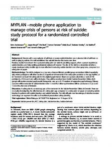 MYPLAN –mobile phone application to manage crisis ... - Trials Journal