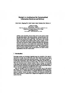 Myriad: An Architecture for Contextualized Information ... - CiteSeerX