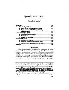Myriad Lessons Learned - UCI Law