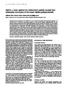 Myticin, a novel cysteinerich antimicrobial ... - Wiley Online Library