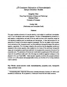 n-Consistent Estimation of Heteroskedastic Sample ... - CiteSeerX