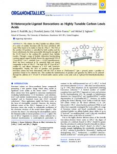 N-Heterocycle-Ligated Borocations as Highly ... - ACS Publications