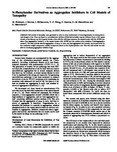 N-Phenylamine Derivatives as Aggregation Inhibitors in Cell Models of