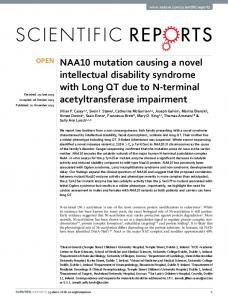 NAA10 mutation causing a novel intellectual disability ... - Nature