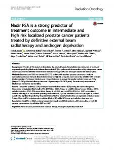 Nadir PSA is a strong predictor of treatment ... - Radiation Oncology