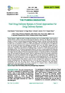 Nail Drug Delivery System-A Novel Approaches For Drug Delivery ...