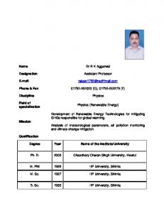 Name Dr R K Aggarwal Designation Assistant Professor E-mail ...