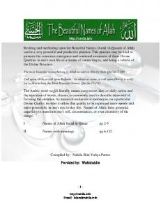 Names of Allah - 2 Wazifa