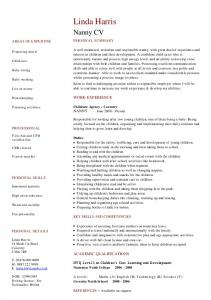 nanny cv template sample - Nanny Cv