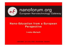 Nano-Education from a European Perspective