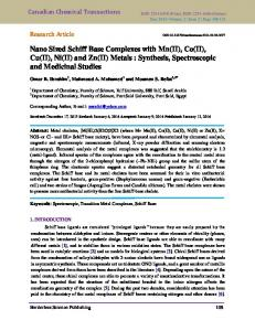 Nano Sized Schiff Base Complexes with Mn(II) - Canadian Chemical