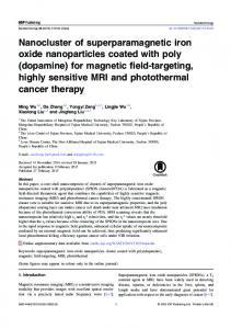 Nanocluster of superparamagnetic iron oxide nanoparticles coated ...