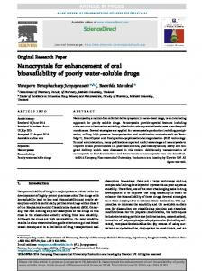 Nanocrystals for enhancement of oral bioavailability