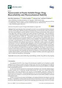 Nanocrystals of Poorly Soluble Drugs: Drug Bioavailability and ... - MDPI