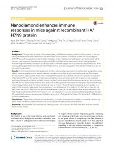 Nanodiamond enhances immune responses in mice against ...