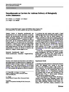 Nanodiamonds as Carriers for Address Delivery of ... - Springer Link