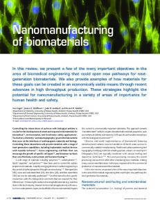 Nanomanufacturing of biomaterials - WorkCast