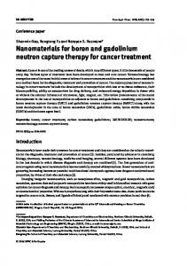 Nanomaterials for boron and gadolinium neutron capture therapy for ...