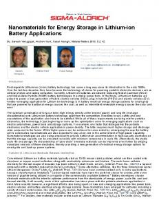 Nanomaterials for Energy Storage in Lithium-ion Battery Applications