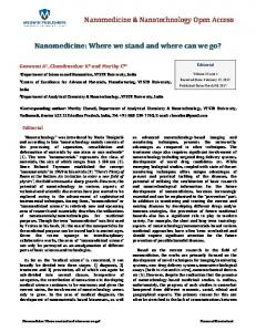 Nanomedicine: Where we stand and where can we go?
