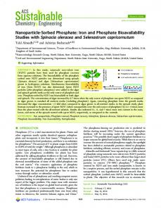 Nanoparticle-Sorbed Phosphate: Iron and ... - ACS Publications