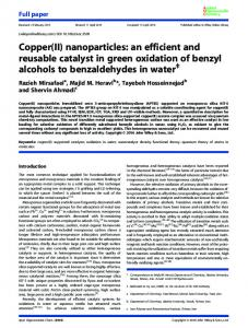 nanoparticles: an efficient and reusable catalyst in