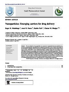 Nanoparticles: Emerging carriers for drug delivery - CyberLeninka