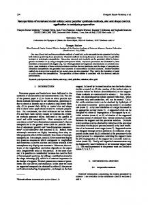 Nanoparticles of metal and metal oxides: some peculiar synthesis ...