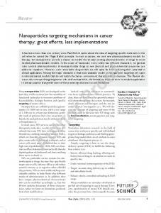 Nanoparticles targeting mechanisms in cancer therapy