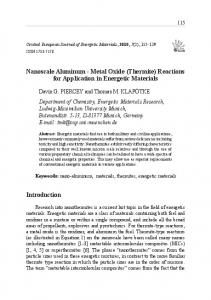 Nanoscale Aluminum - Metal Oxide (Thermite) Reactions for ...