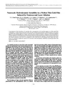 Nanoscale Hydrodynamic Instability in a Molten Thin Gold Film ...