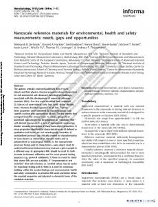 Nanoscale reference materials for environmental, health and ... - NIST